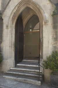 The steps up to the main entrance of Christ Church